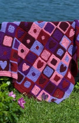Happy Hearts Afghan Free Crochet Pattern from Red Heart Yarns