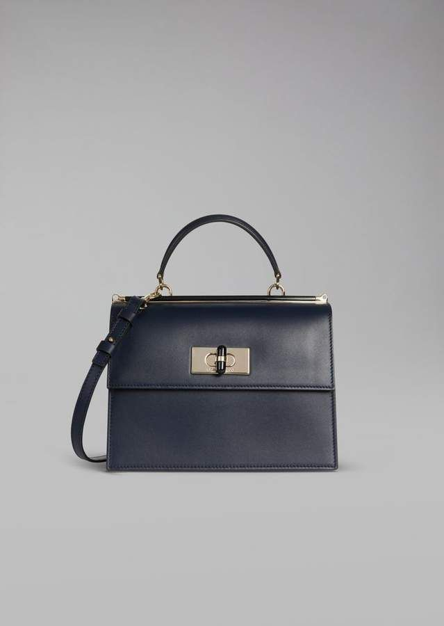 42bde95e0c Giorgio Armani Smooth Leather Handbag With Plexiglass Turn Lock And ...