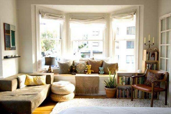 43 Ideen für behagliche Sitzecke auf der Fensterbank möbel Pinterest - wohnzimmer weis gestalten