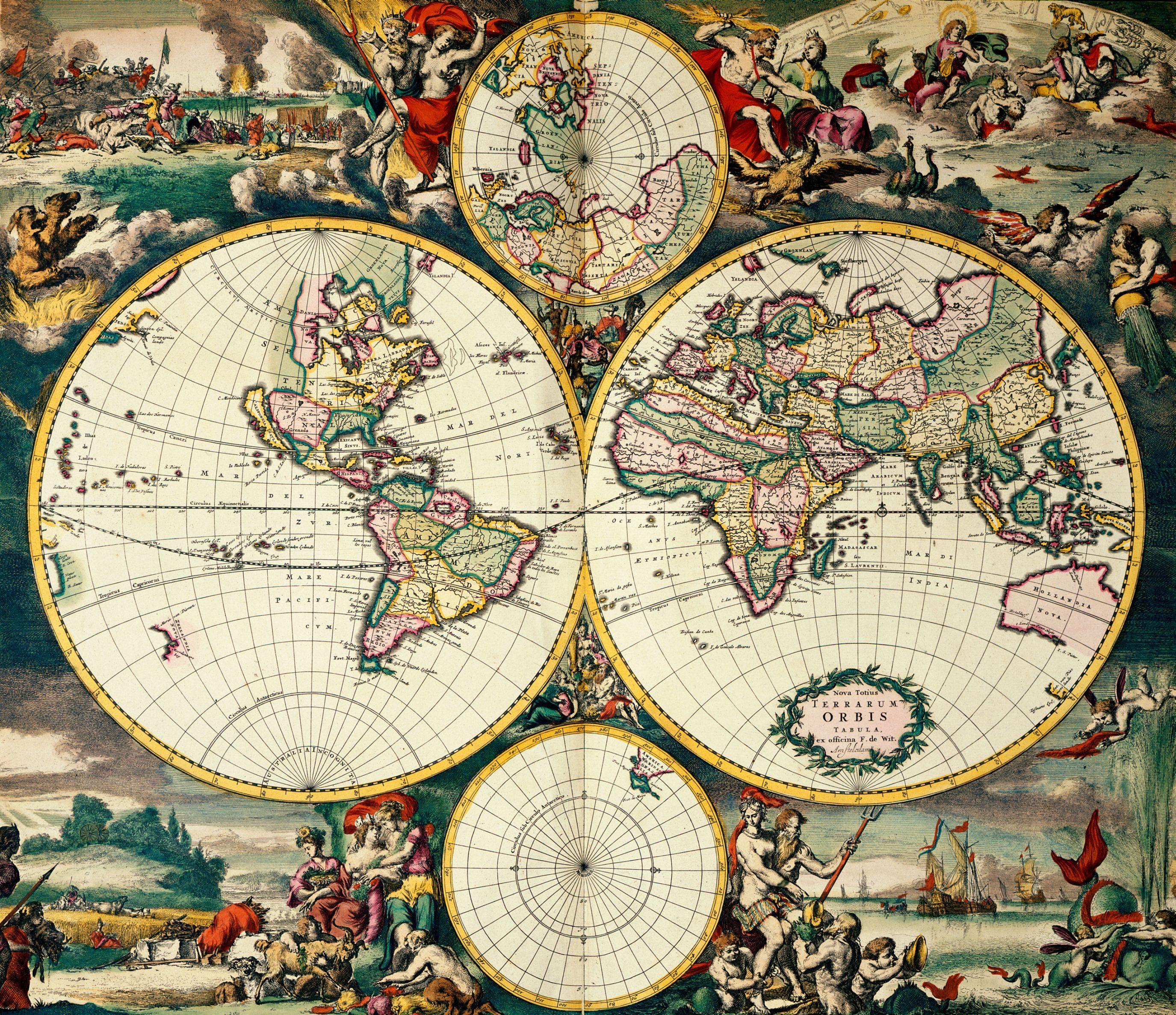 Four hemisphere world map image taken from nova totius terrarum four hemisphere world map image taken from nova totius terrarum orbis originally publishedproduced in amsterdam gumiabroncs Choice Image