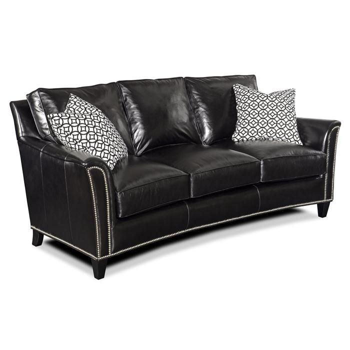 Charming Nebraska Furniture Mart U2013 Bradington Young Traditional Black Leather Sofa  With Nailhead Accents