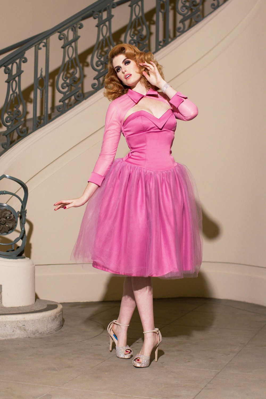 Laura Byrnes California Bernadette Dress in Dusty Rose   Pinup girl ...