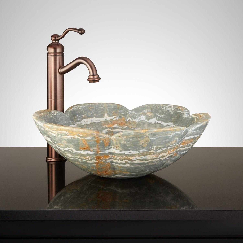 Beel Blue Onyx Flower Vessel Sink Elvis Ideas Sink Vessel