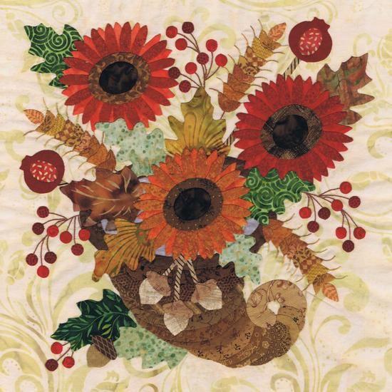Blk # 3 Cornucopia Bouquet for Baltimore Autumn applique quilt pattern by P3 Designs