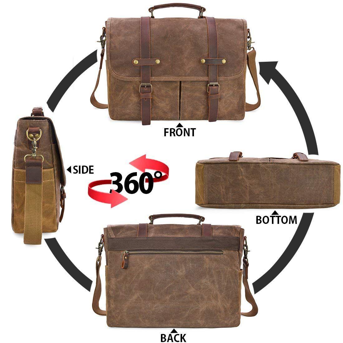 8ff9ee3e83fa Mens Messenger Bag 15.6 Inch Waterproof Vintage Genuine Leather Waxed  Canvas Briefcase Large Satchel Shoulder Bag