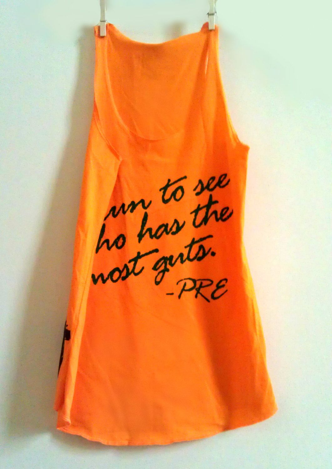 Large Orange Women' Prefontaine Quote Fitness Workout