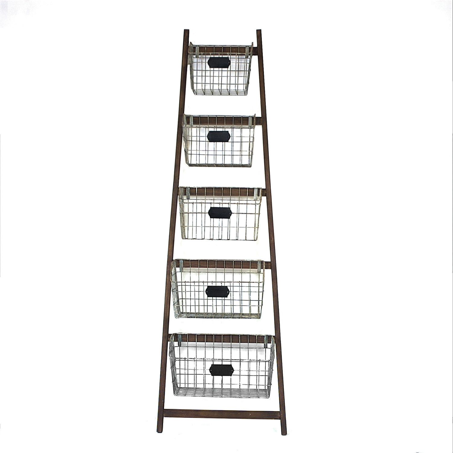 Creative Co-Op Bistro Wood Ladder with 5 Wire Baskets & Reviews ...
