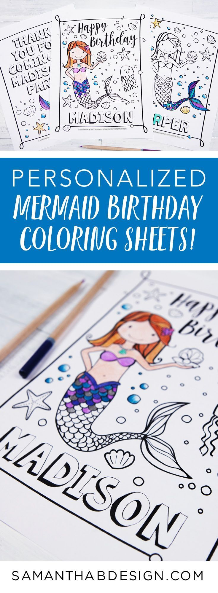 Mermaid party activity mermaid birthday party coloring sheets
