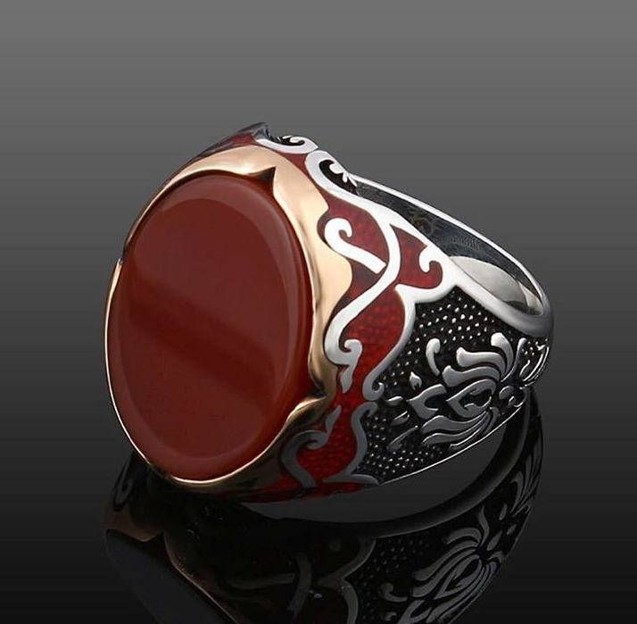 925 Man Red Women Signet Silver Ring Set Agate Oval Sterling N80mwnOv