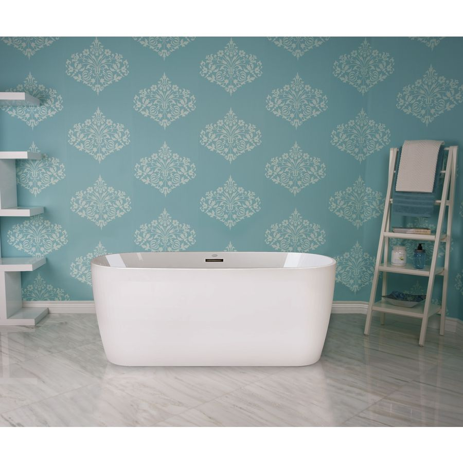 Jacuzzi Primo 59-In White Acrylic Freestanding Bathtub With Center ...