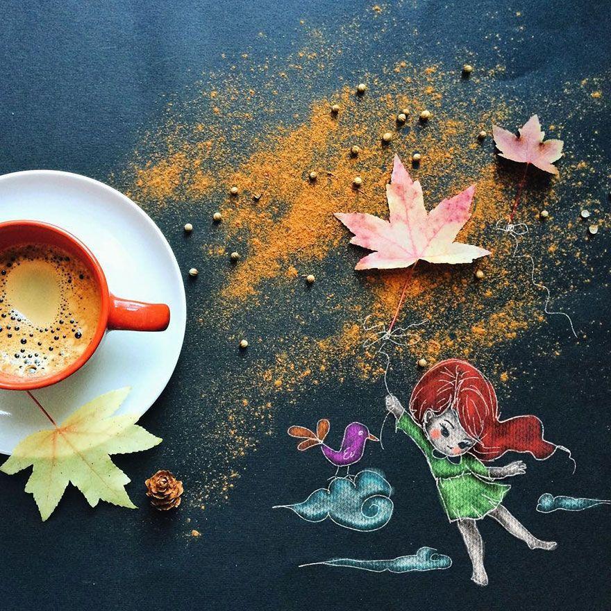 Artista cria ilustrações fofas enquanto toma café da manhã