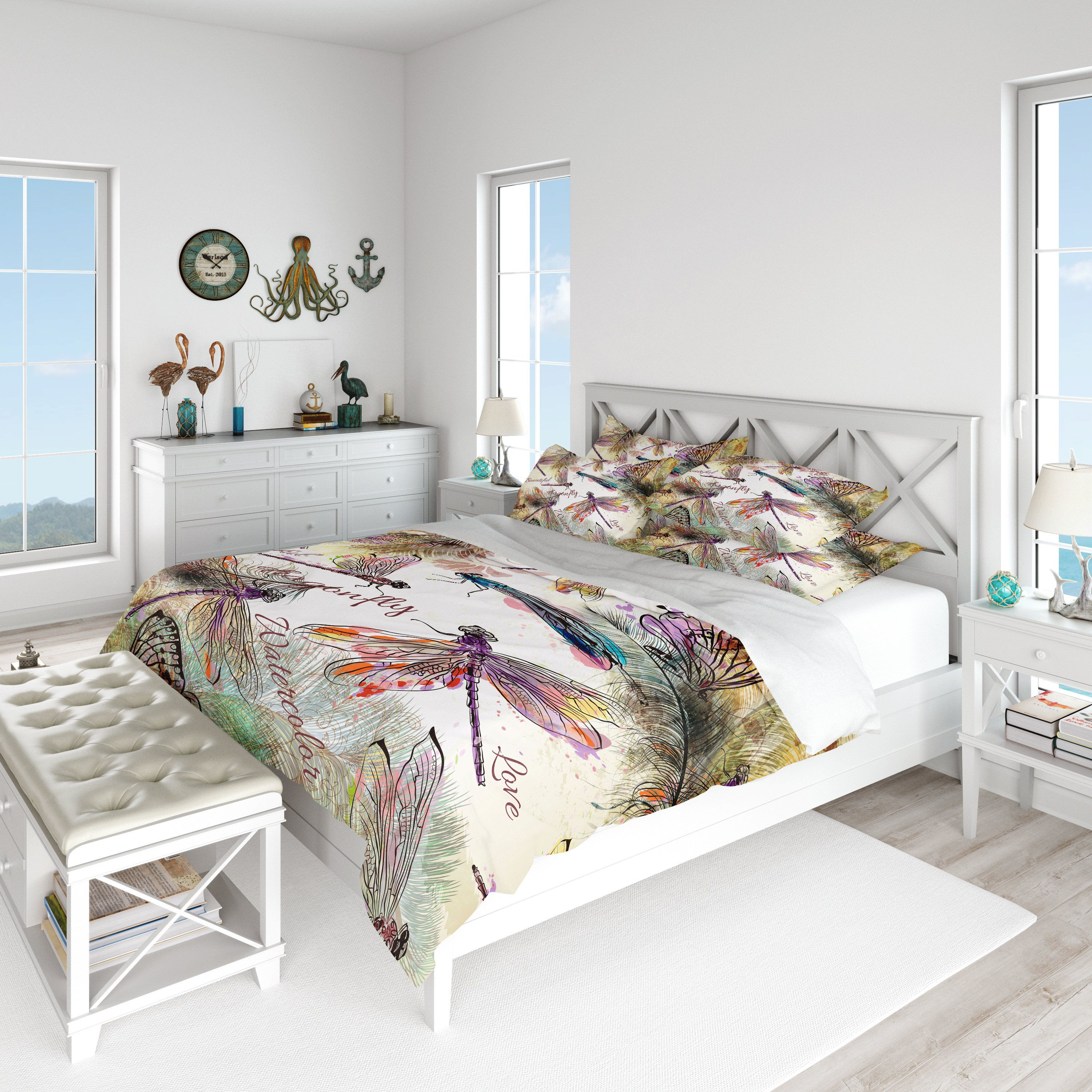 Boho Watercolor Dragonfly Comforter Or Duvet Cover Twin Queen
