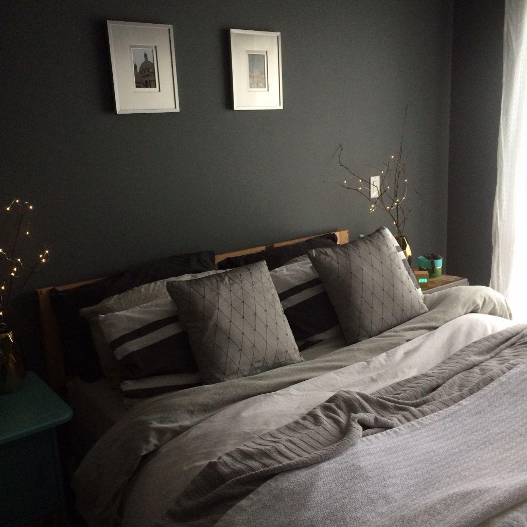 Benjamin Moore Gunmetal Gray Bedroom Painted With Aura In Matte