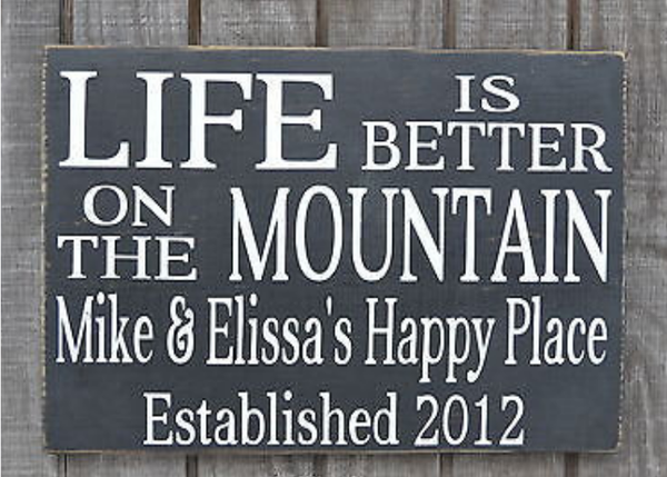 Wood Signs Home Decor Mountain Decor Mountains Sign Personalized Family Name Wood Sign