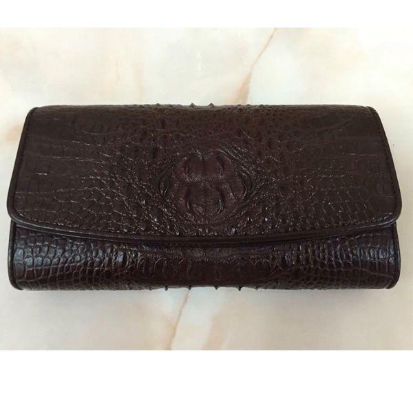 Dark Brown Trifold Design Clutch Genuine Crocodile Leather Skin Wallet Purse #Handmade #Trifold