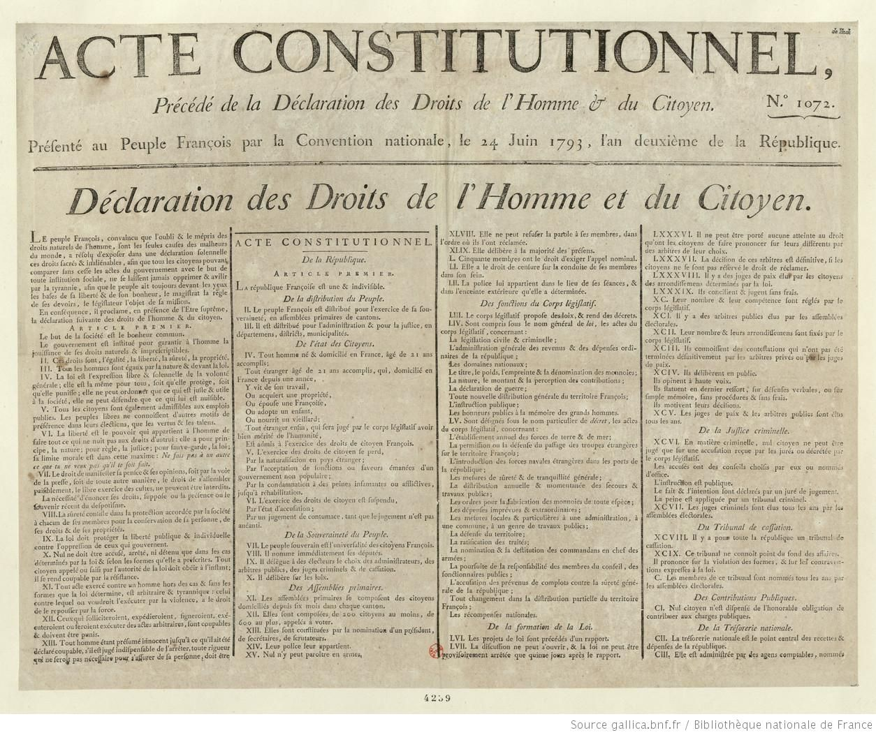 Acte Constitutionnel Presente Par La Convention Nationale