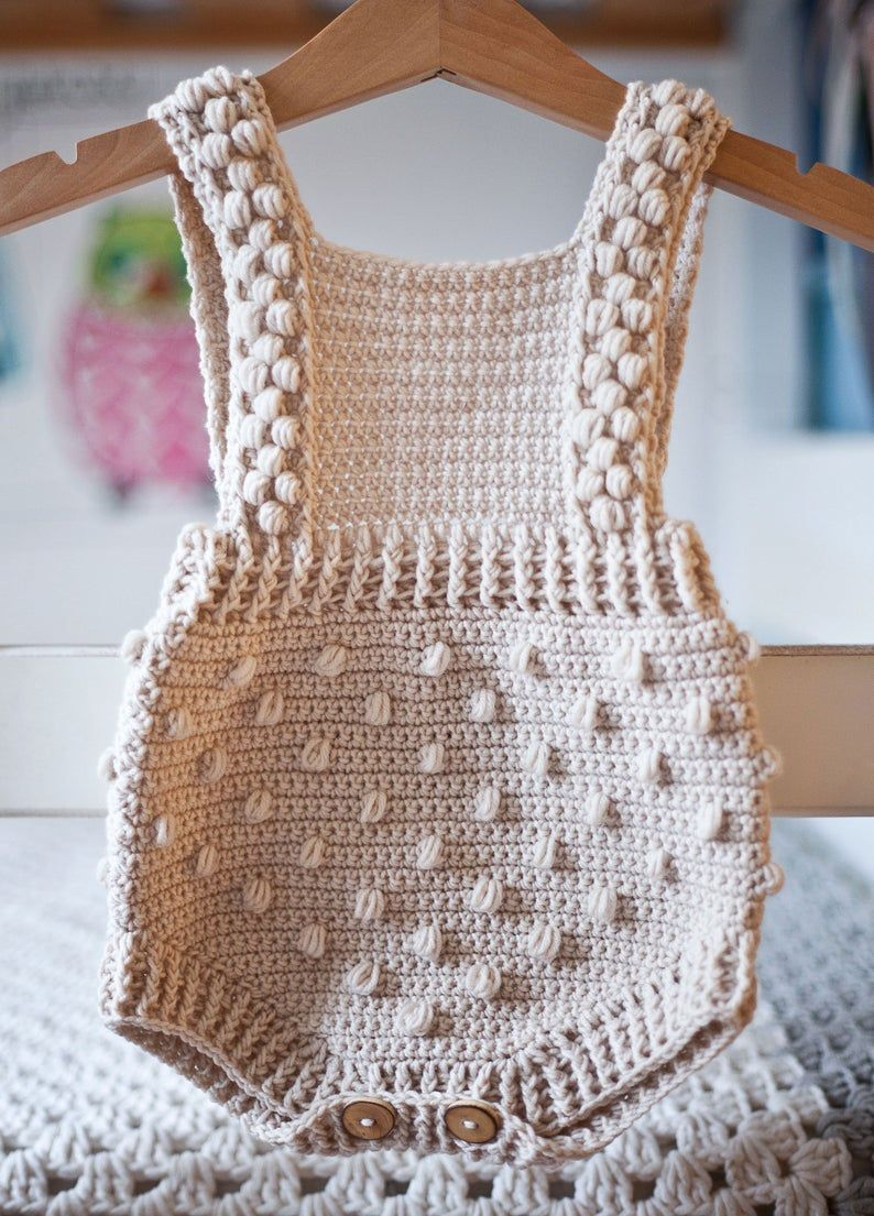 Photo of Crochet PATTERN – Bobble Romper (sizes 0-3, 6-9, 12-18 months) (English only)