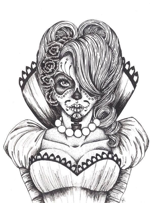 Day of the dead girl; Sugar Skull. Love her outfit ...