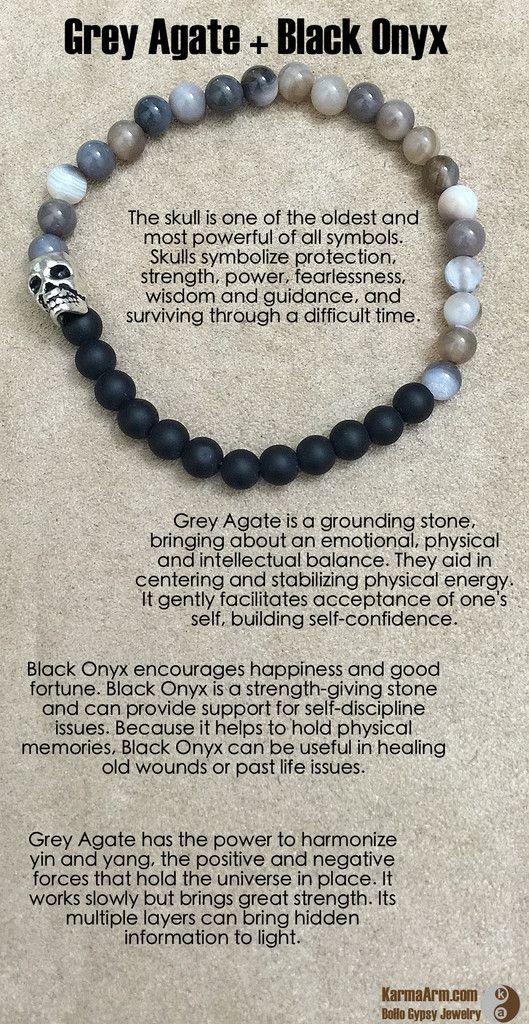 Grey Agate and Black Sardonyx Gemstone  Bracelet