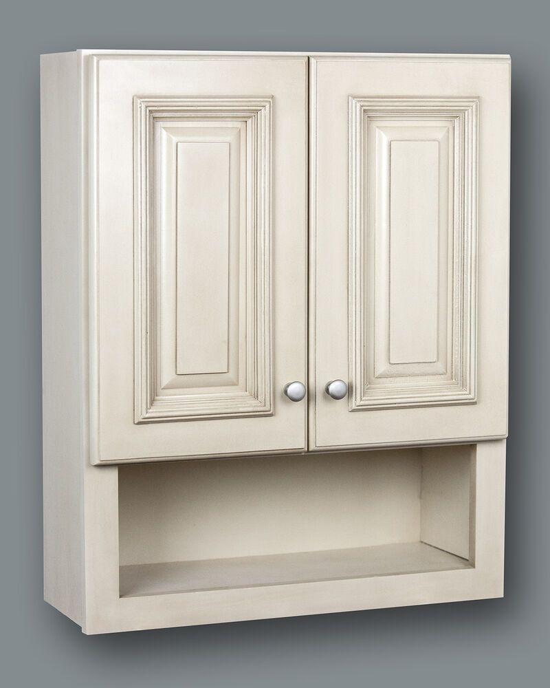 Antique White Bathroom Wall Cabinet With Shelf 21x26 Bathroom