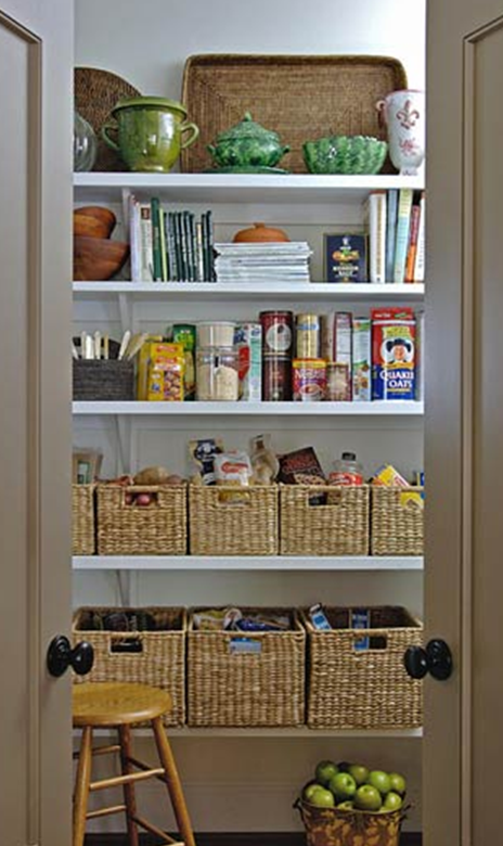 Love using baskets to organize a pantry