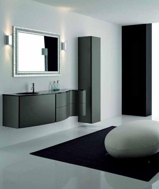 Herausragende Schwarze Badezimmerschranke Von Novello Mit Modernen Wand Lampe Erstaunlich Schwarz Badezimmer Schranke Schwarzes Badezimmer Badezimmer Schwarz