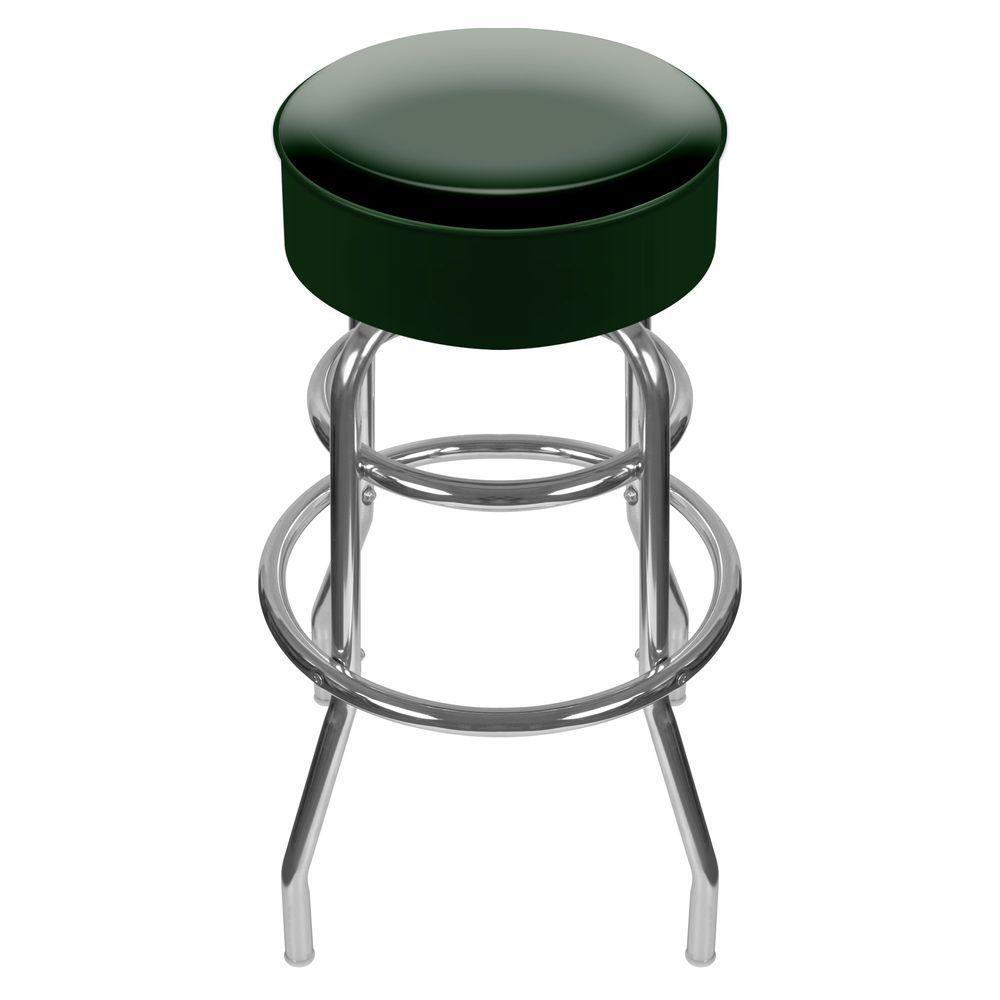 Trademark 31 In Chrome Swivel Cushioned Bar Stool 1000 Green