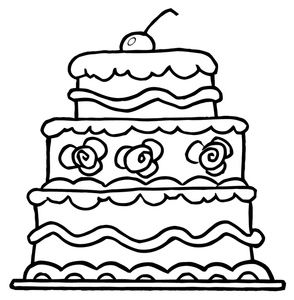Free Cake Clip Art Image Multi Layer Birthday Cake Coloring Page