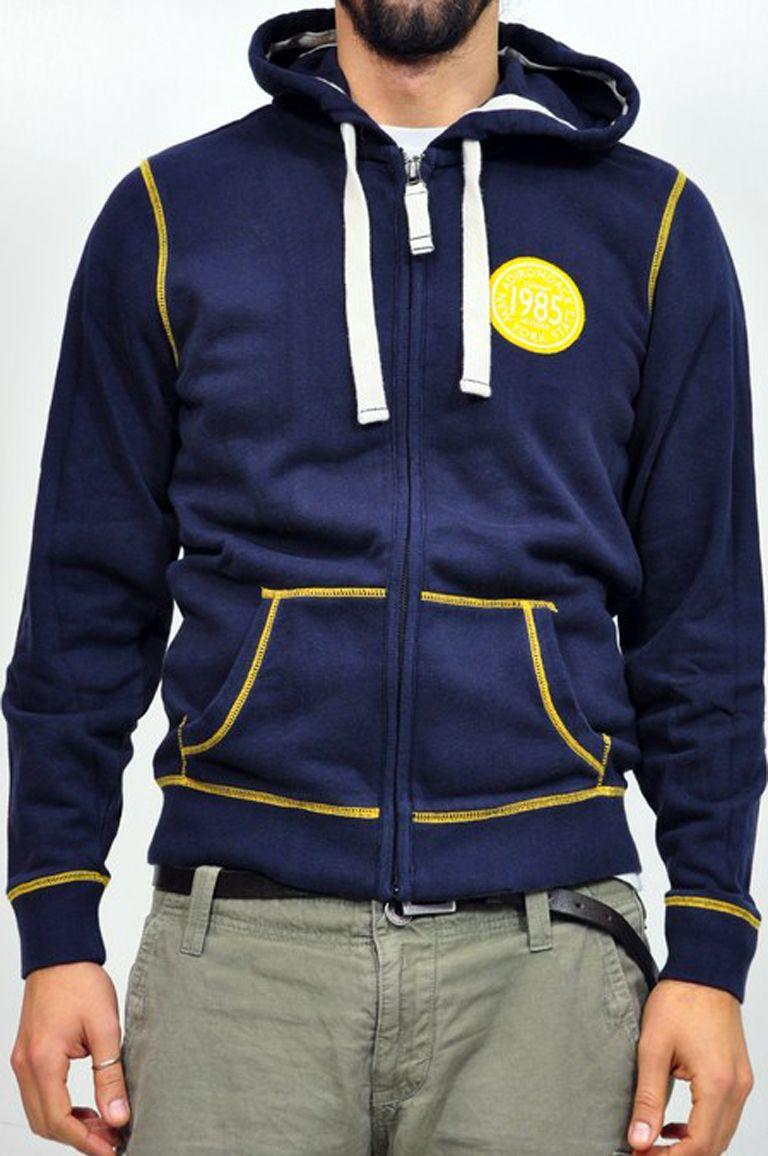 f442ffa47c Tommy Hilfiger, felpa blu con cappuccio e zip. Dettagli in giallo ...
