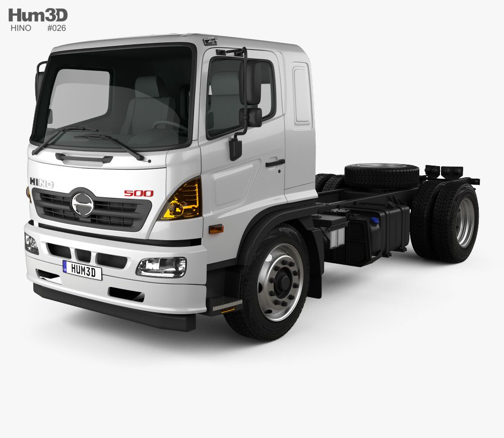 3d Model Of Hino 500 Chassis Truck 2018 With Images Trucks