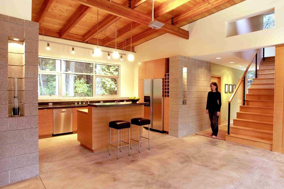 Elegant Cinder Blocks Mode Seattle Contemporary Kitchen Image Ideas With  Breakfast Bar Cinder Block Walls Concrete