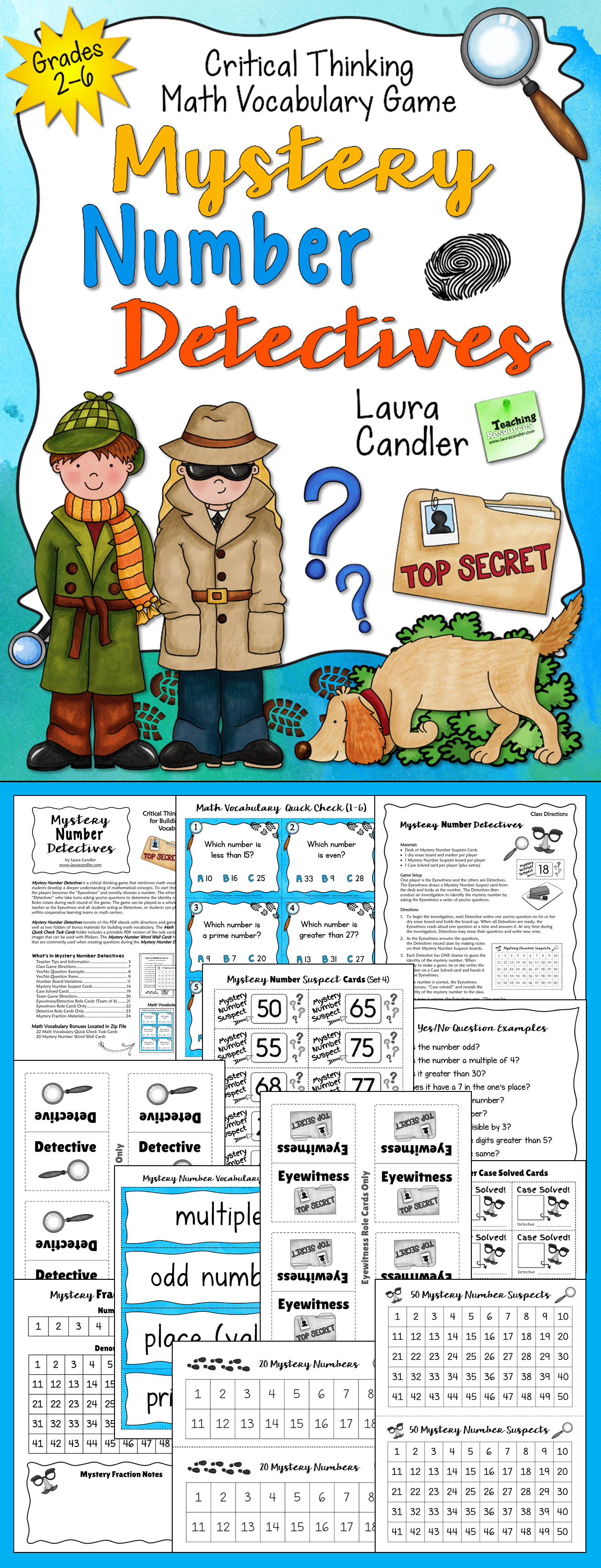 worksheet Mystery Number math vocabulary activities mystery number detectives game task cards