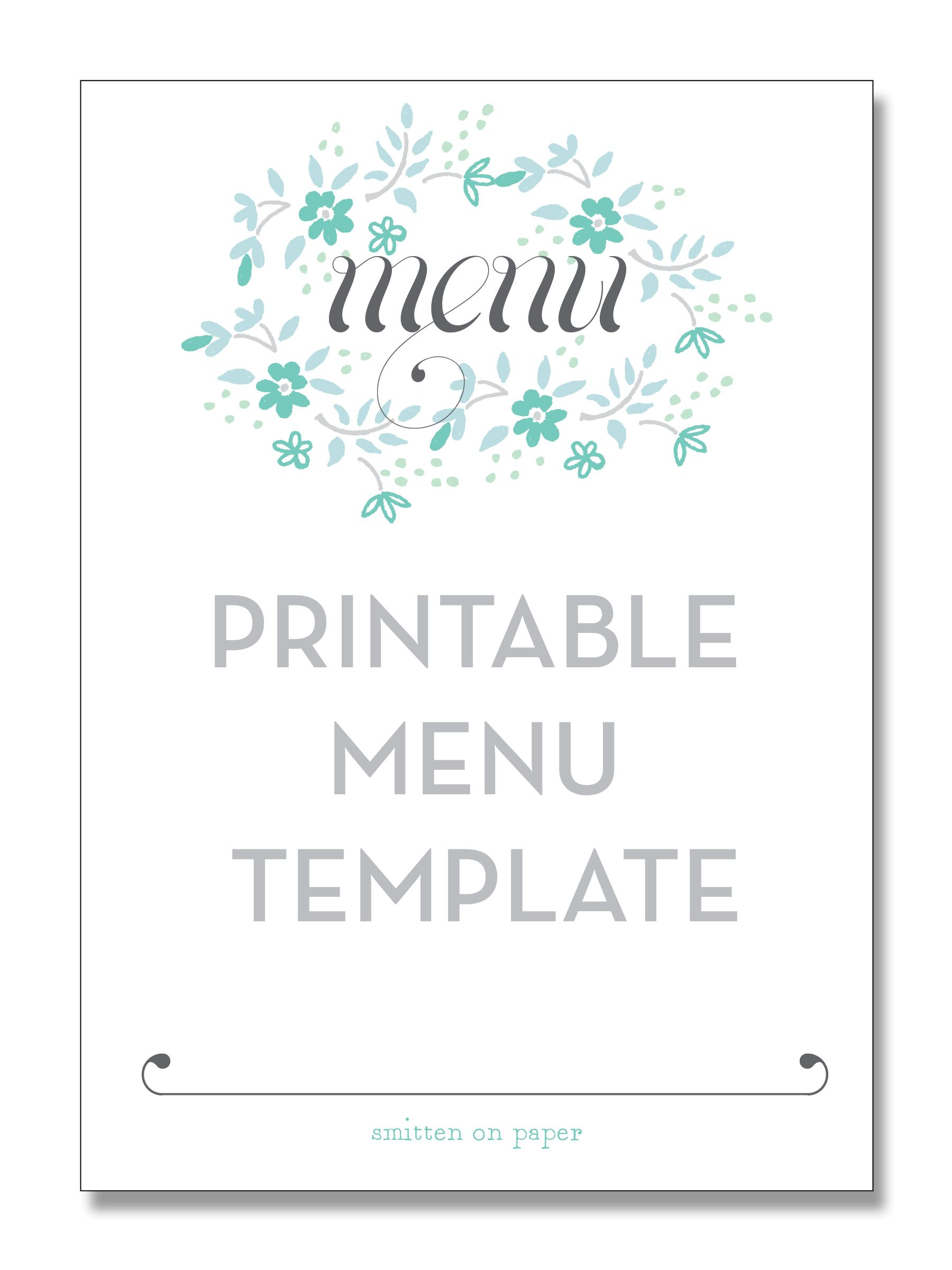 printable menu template from smitten on paper party diy. Black Bedroom Furniture Sets. Home Design Ideas