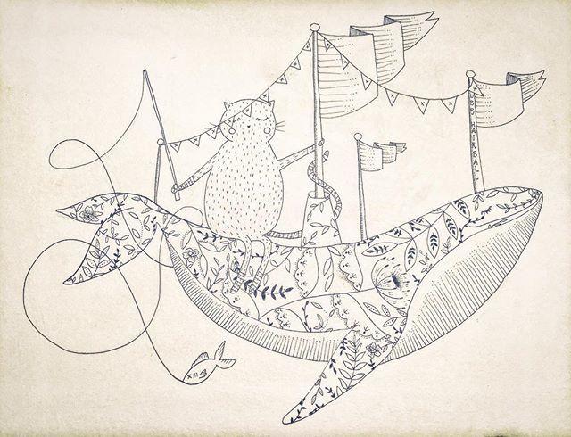 Cat-fishing aboard the USS Hairball original illustration by @hikomarishop