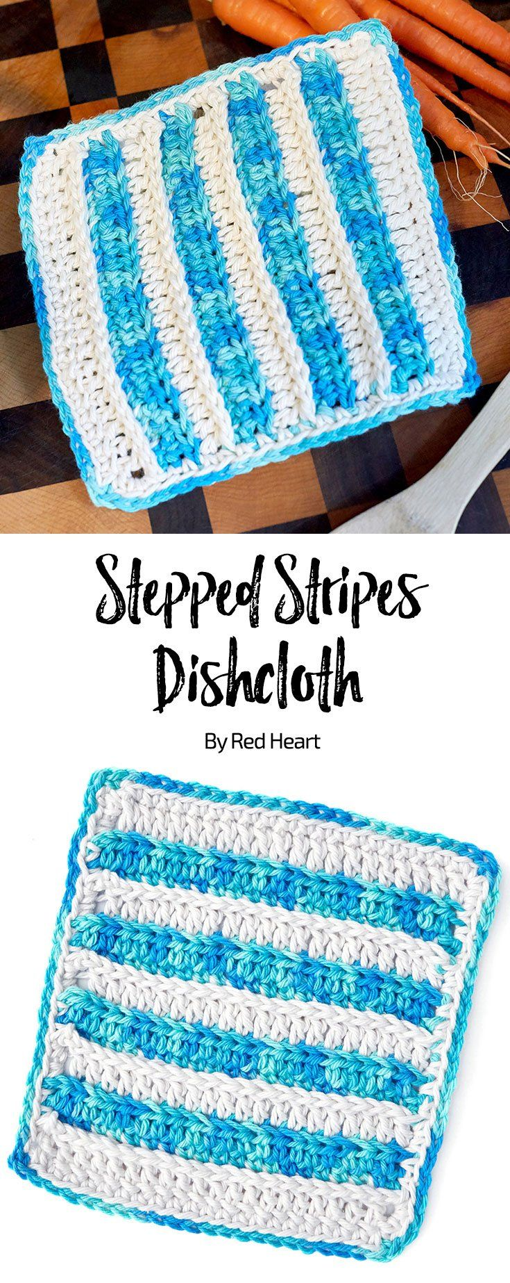 Stepped Stripes Dishcloth free crochet pattern in Scrubby Smoothie ...