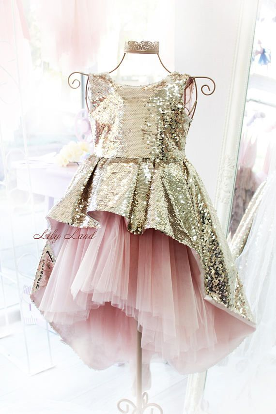 0c9315102349f Rose gold sparkling Girl dress with train lo hi dress sequin tutu ...