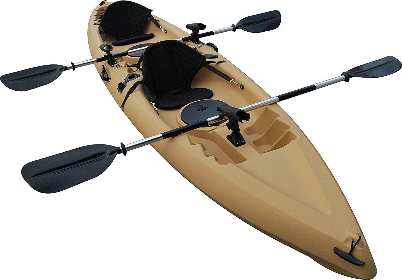Bkc Tk181 Angler 12 Foot 8 Inch Sit On Top Tandem Fishing Kayak W Upright Seats Paddles And 7 Fishing Rod Holders Tandem Fishing Kayak Tandem Kayaking Kayak Fishing
