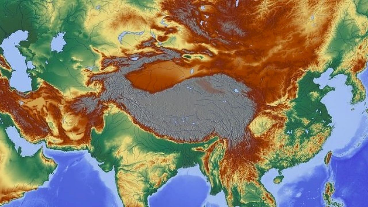 تضاريس قارة آسيا Asia Painting Topography