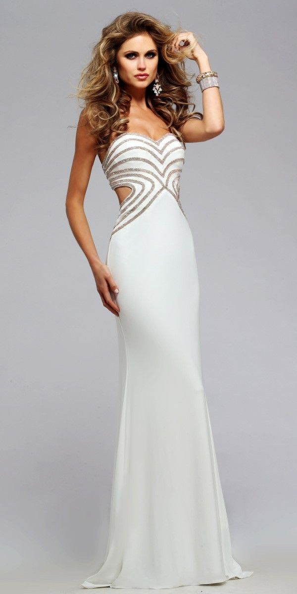 Faviana S7701 Long Formal Dress | Pinterest | Coral navy, Prom and Ivory