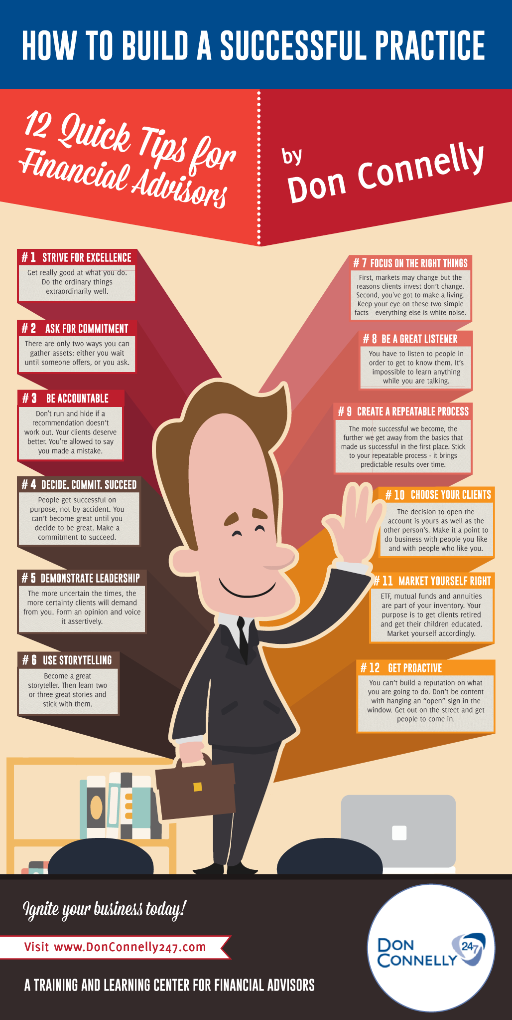 12 Practice Building Tips For Financial Advisors Infographic