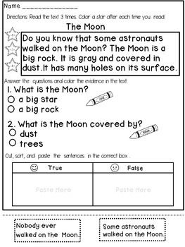 Reading Comprehension Passages (1st Grade) | Space Worksheets ...