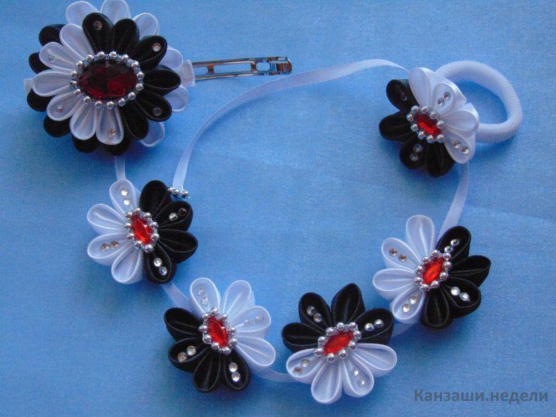 Чернобелое украшение в виде ленты в косу Модные банты