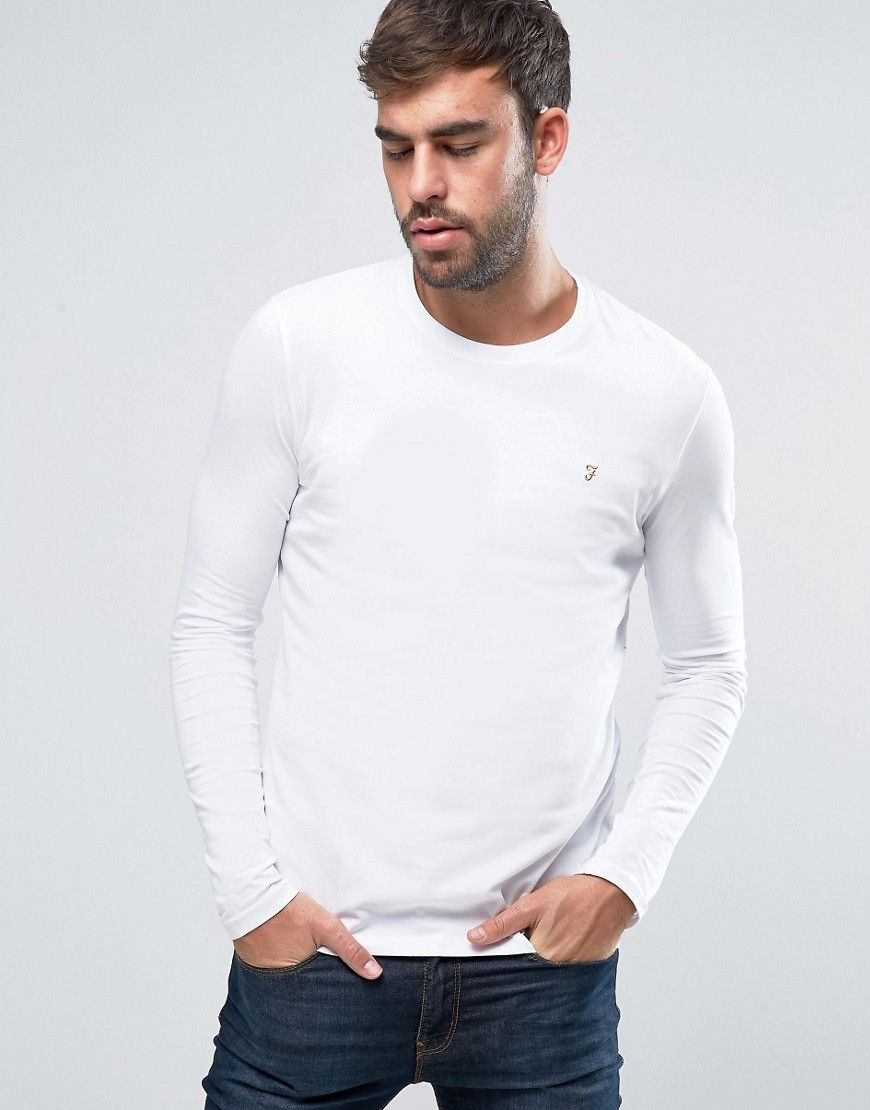 83786047d Farah Southall Super Slim Muscle Fit Long Sleeve T-Shirt White - White