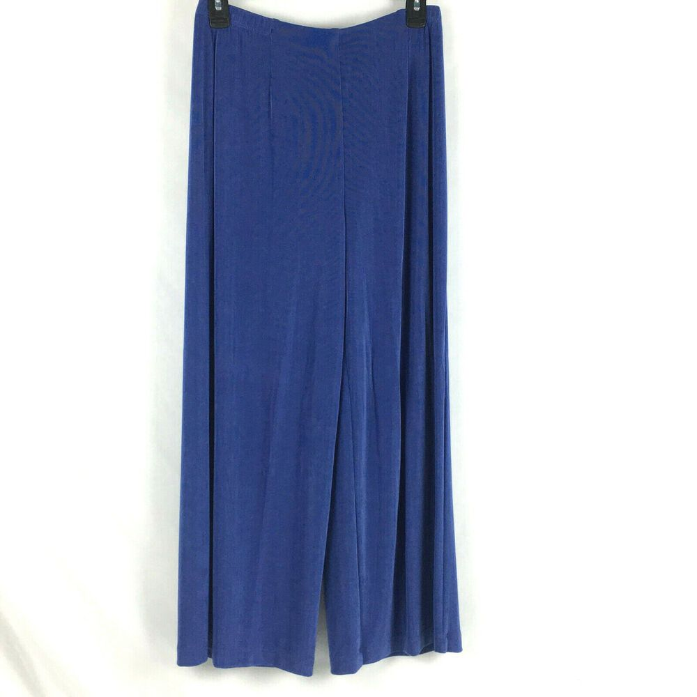 Chicos 1 Travelers Crop Pants Womens Sz Medium Blue no Tummy Pull On Acetate #Chicos #Cropped