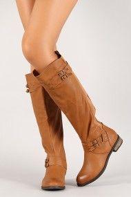 Mixed Media Zip Up Knee High Riding Boot