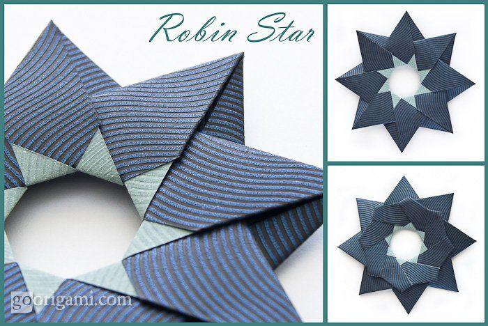 Photo of Robin Star, hergestellt aus 8 quadratischen Blättern Papier, kein Kleber erforderlich. Es ist doppelt …