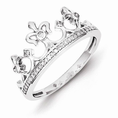 Sterling Silver Genuine Diamond Crown Ring Primary colors