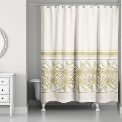 Decorative Weighted Shower Curtain In Ivory Gold Blue Bathroom