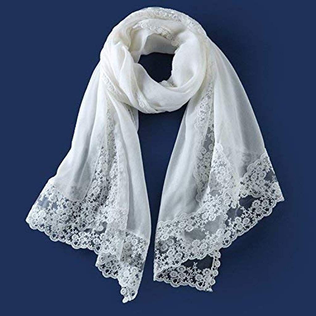 7a6f6e3b89c7 RIVAY Home Écharpe en Dentelle de Coton et Foulard Blanc Fille Foulard  Imitation Cachemire Femme Automne