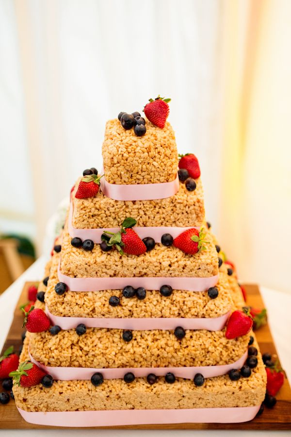 Rice Krispie Cake At A Home Made Festival Wedding   FABULOUS IDEA!